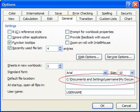 Change Excel Default Save Location