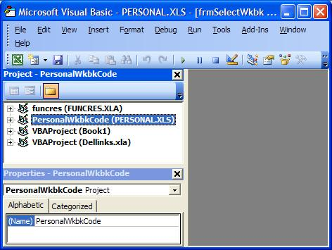 Personal Workbook in VBA Editor